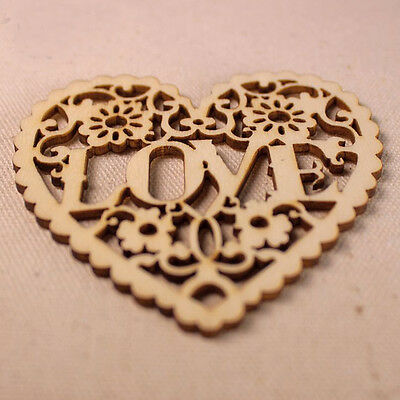 1PC Heart Wood Color Hollow Wooden Heart Shapes Hand Crafts Home Wedding Decor