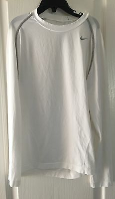 NIKE DRI-FIT Youth Boys White L/S Compression Shirt SZ Med
