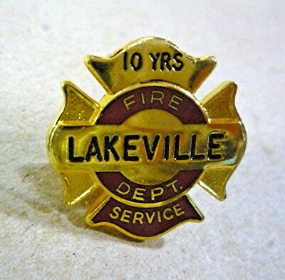 Lakeville Fire Dept Fire Fighter 10 years service award tie tack pin.