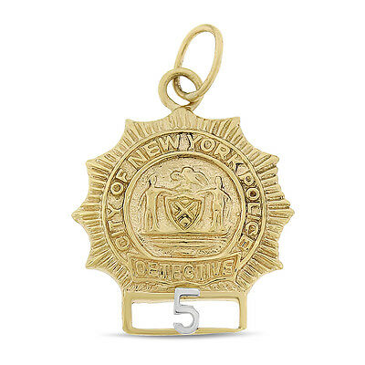 Vintage City Of New York Police Detective Badge 5 Charm 14k Yellow Gold