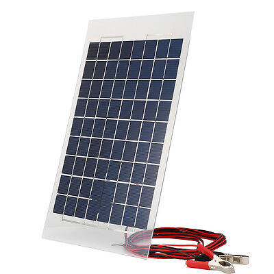 18V 10W Solar Charger Panel External Portable Battery for Car W/Crocodile Clips