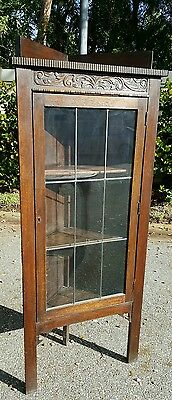 Beautiful Early American Solid Oak Glass Front Corner Cabinet