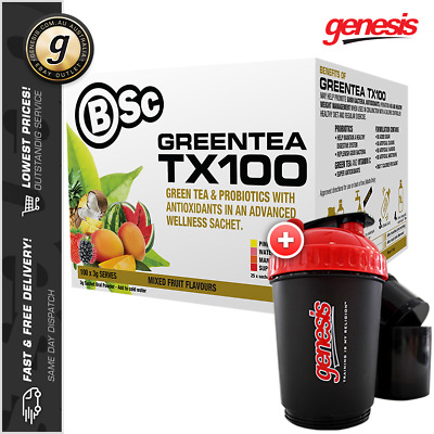 Bsc GREEN TEA TX100 *100 Serve ASSORTED FUITS* Weight Loss + FREE 3in1 Shaker!