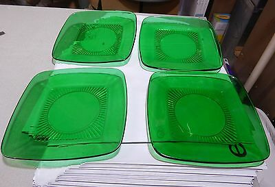 "4 Anchor Hocking Glass Forest Green Charm 8 1/4"" Luncheon Plates Early 1950's"