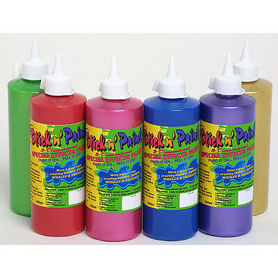 NEW Set of 6 x 500ml Stick 'n Paint Childrens Kids Art Craft