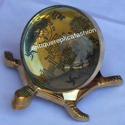 Solid Brass Tortoise Yantra Business Increment Yantra Hinduism Brass Yantra