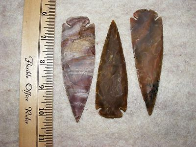 "Set Of 3 4"" Stone Spearheads Arrowheads Texas Estate Art-Bs So3-502"