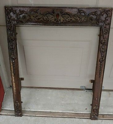 Antique Victorian cast iron metal Fireplace cover surround ornate steam punk
