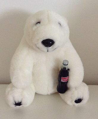 "Coca Cola 1993 Polar Bear Holding Coke Bottle 7"" Plush Stuffed Animal White"