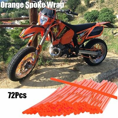 72Pcs MOTORCYCLE WHEEL SPOKE WRAPS COVERS KAWASAKI KX KXF - ORANGE