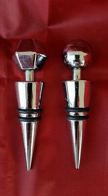 Vintage Stainless Steel Bottle Stoppers Lot of 2 Bar Wine Spirits Collectable