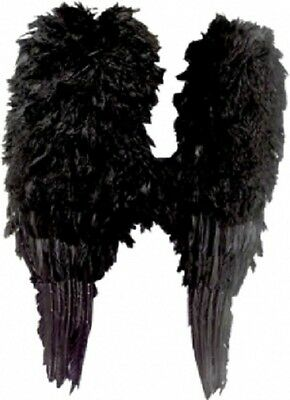 Fancy Dress Costume Accessories SW Halloween Large Black Angel  Feather Wings