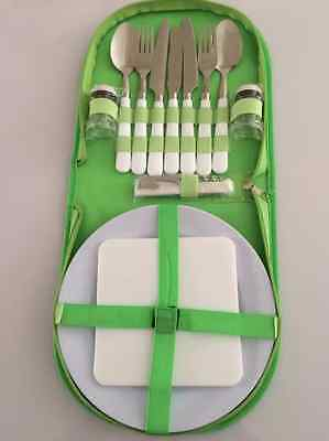 Picnic 2 Person Green Camping Picnic Set Outdoor Cook Eat BBQ