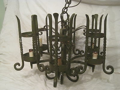 vintage wrought iron chandelier hanging 6 light lighting turned heavy metal