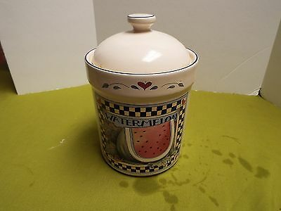 Susan Winget Watermelon  Canister 8 Inches Tall 5 Inches Wide Mint Condition