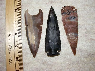 "Set Of 3 4"" Stone Spearheads Arrowheads Texas Estate Art-Bs So3-507"