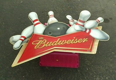 2005 Large Bud Budweiser Metal Tin Sign with Bowling Pins