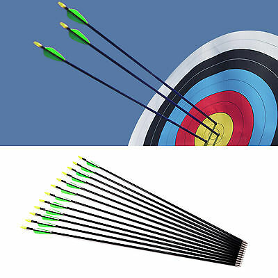 "12 x NEW 28"" 30"" 32""  FiberGlass Arrows Archery Hunting Compound Bow Fiber Glass"