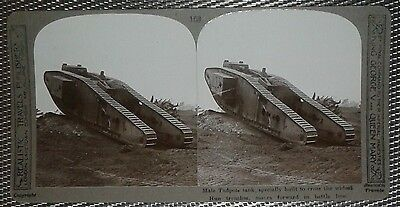 "WWI UK Mark IV experimental ""Tadpole Tail"" panzer tank stereoscopic photocard RR"