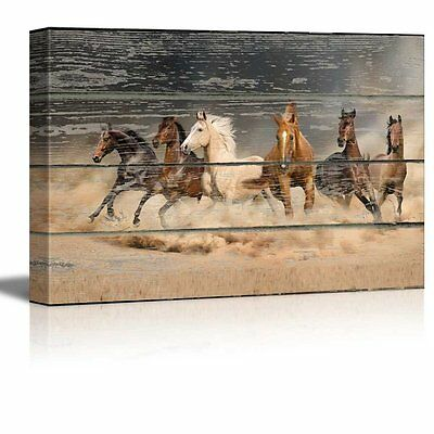 Canvas Wall Art - Galloping Horses on Vintage Wood Textured Background - 24 x 36