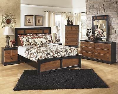 Ashley Aimwell B136 Queen Size Panel Bedroom Set 5pcs in Dark Brown Casual Style