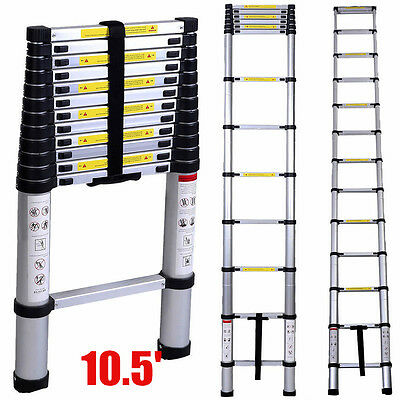 330Lbs 10.5FT 11-Steps Aluminum Telescoping Collapsible Extension Ladder US BP