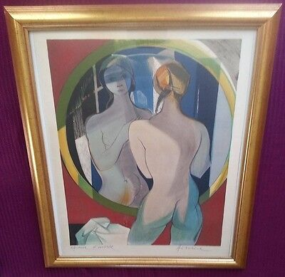 Camille Hilaire 1916-2004 Rare large pencil signed lithograph, woman in a mirror