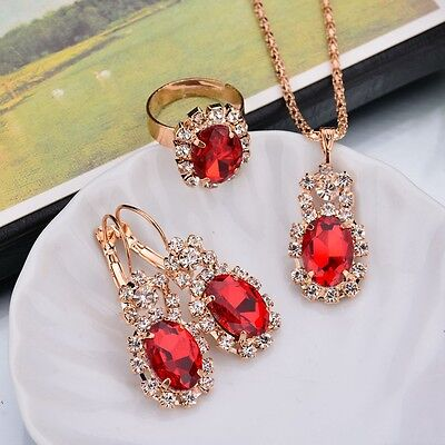 Women's Gift Red Crystal  Rhinestone Necklace  Earring Ring Fashion Jewelry Set