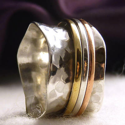 US 9 ~ WIDE WAVE 3-SPIN SPINNER SilverSari Worry Ring ~ 925 Sterling Silver