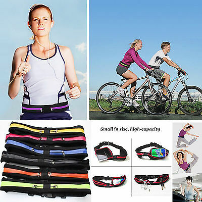 Cycling Gym Yoga Running Storage Belt SLIM With Zip Pocket Mobile Money Keys