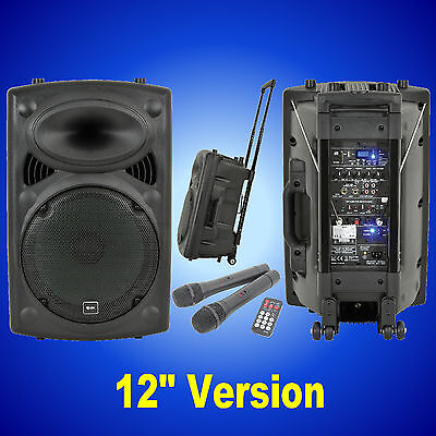 QTX QR12PA Portable PA System VHF Wireless Mics USB SD MP3 AUX Remote 178.843
