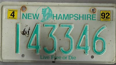 Vintage 1992 New Hampshire Live Free Or Die State License Plate # 143346
