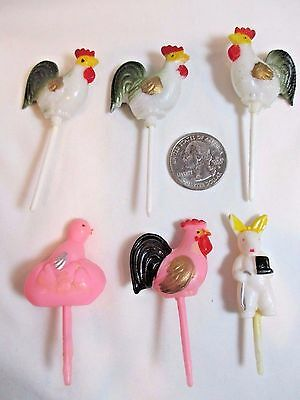LOT of 6 VINTAGE 1950's EASTER CAKE PICK DECORATIONS RARE PINK ROOSTER BUNNY +++