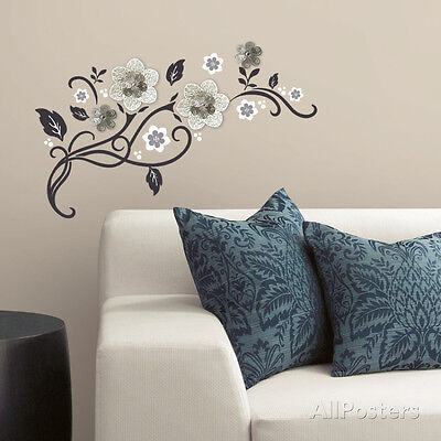 Floral Scroll Peel and Stick Wall Decals w/ 3D Cutout Flowers , 31x12