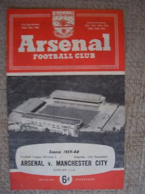 1959...ARSENAL v MANCHESTER CITY.....Division One......Football Programme