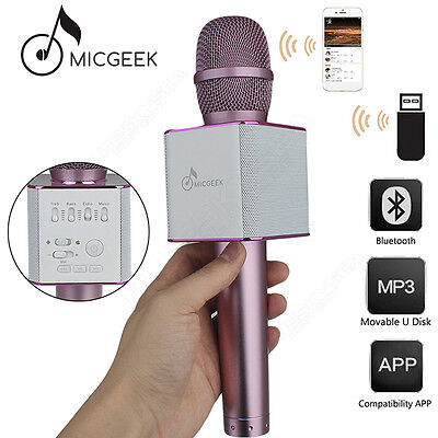 MicGeek Q9 Microphone Wireless KTV Support USB Player Pink Mini For iPhone 6s/6p