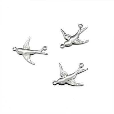 20 x Stainless Steel Small Bird / Swallow Connectors Links - Thin Stampings