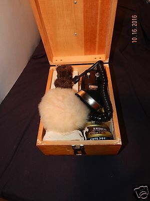 Vintage Magic Maid Electric Shoe Polisher Shine Kit Wooden Box + Accessories