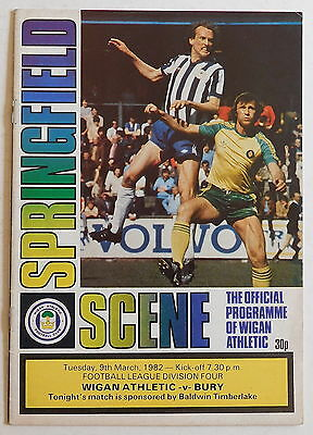 WIGAN ATHLETIC Vs BURY Programme - 9 March 1982 - Division 4