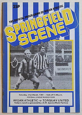 WIGAN ATHLETIC Vs TORQUAY UNITED Programme - 21 March 1981 - Division 4