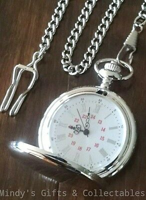 Mens Vintage Style Silver Pocket Fob Watch with Chain. Is suitable for engraving