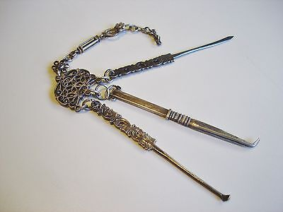 "3-piece Silver Chinese Chatelaine 19th Century ""Opium War Period"""