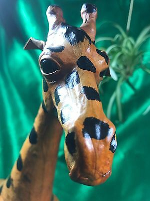 VINTAGE!  Hand-Crafted Leather Wrapped African Giraffes-Glass Eyes!