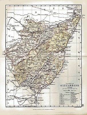An  antique map of the County of Kincardine, Scotland dated 1884.