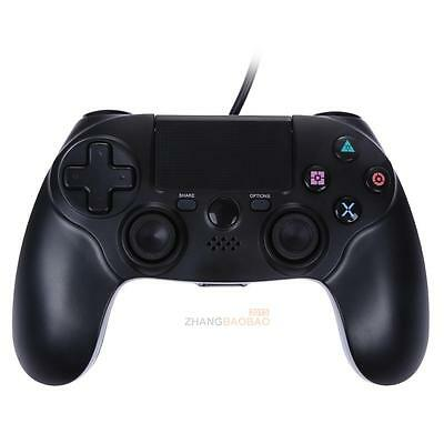 For Playstation 4 PS4 Wired Game Controller Dual Vibration 6 Axies Gamepad Black