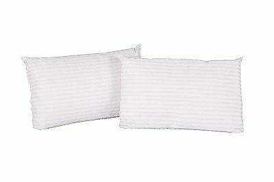 Sale - 2 X Satin Stripe 5* Hotel Quality Jumbo Extra Filled  Bed Pillows