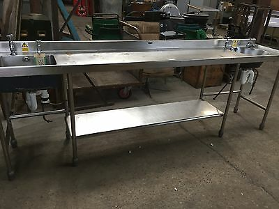 Stainless Steel Double Sink Unit / Prep Area With Shelf
