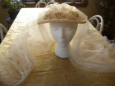 Vintage Bridal Veil Wax Pearly Flowers Lace and Layers Netting Lovely