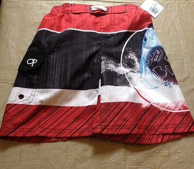 NWT boys red shark swim shorts Size  XS 4/5  by OP