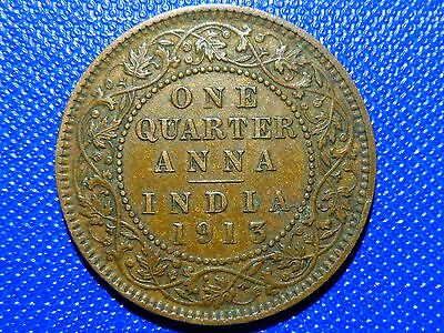 1 quarter anna 1913 India Low Shipping! Combine FREE!